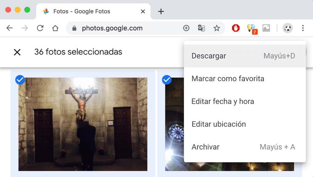 Descargar fotos de Google Fotos