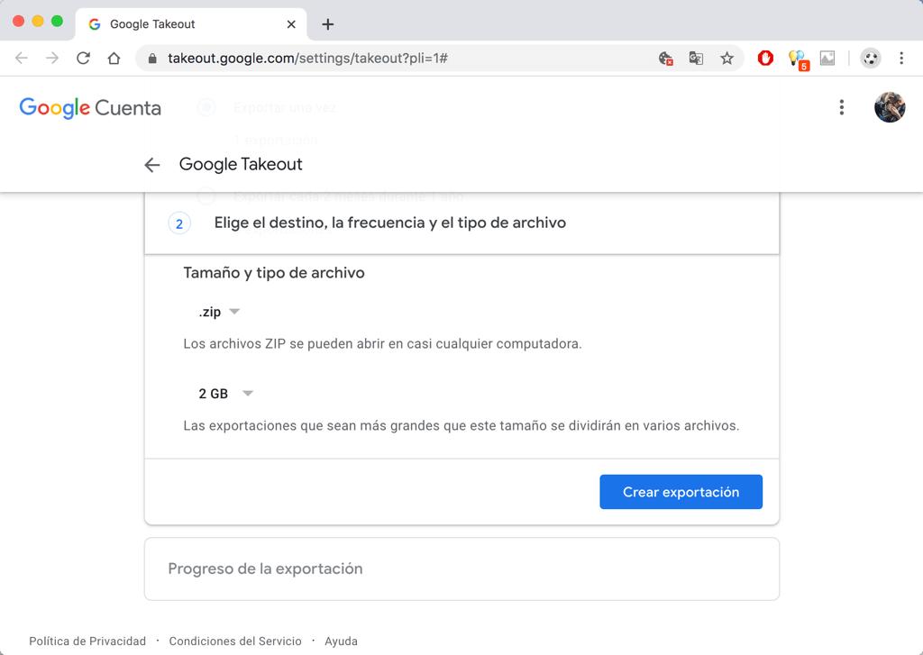 Exportar Google Fotos con Takeout