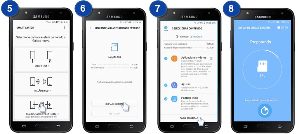 respaldar Samsung a tarjeta SD con Smart Swith