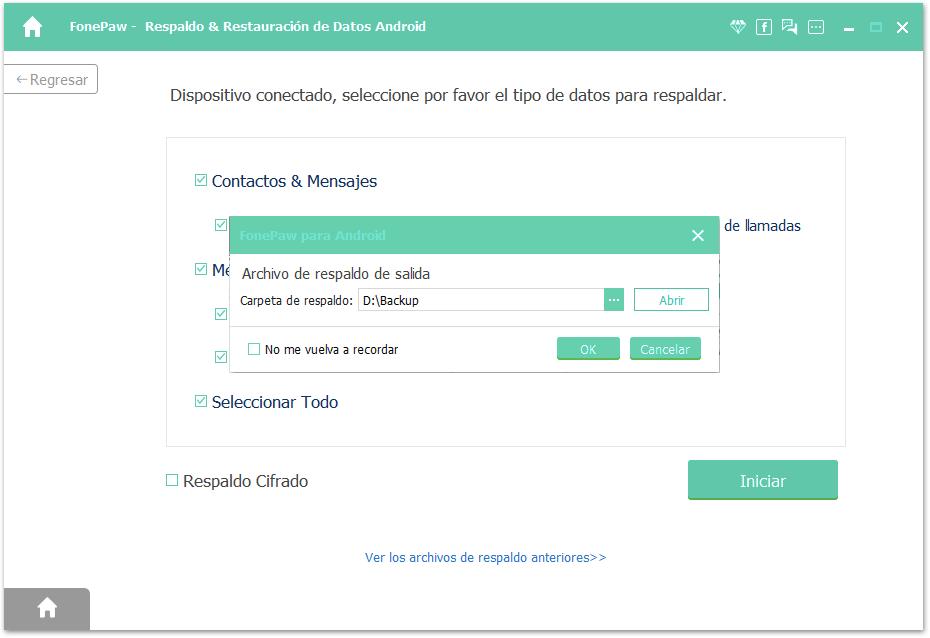 confirmar ruta de salida de respaldo de Xiaomi REDMI