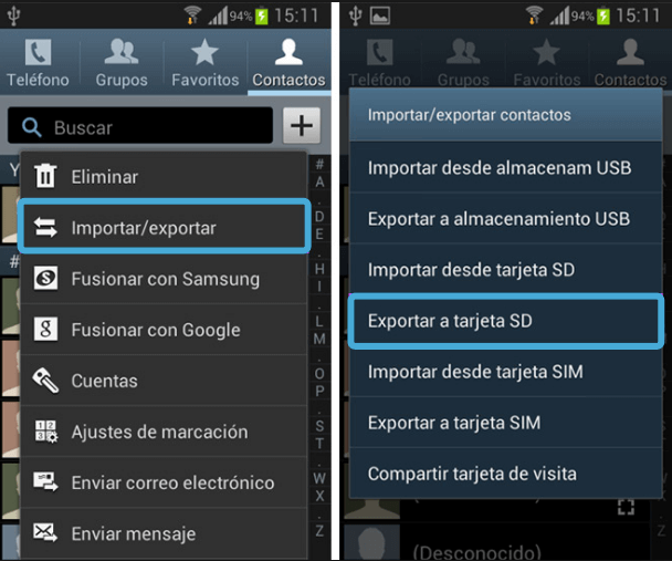 exportar contactos Android a tarjeta SD