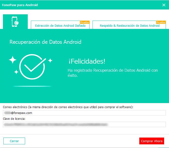 introducir dirección de correo electrónico y clave de liencia ADR