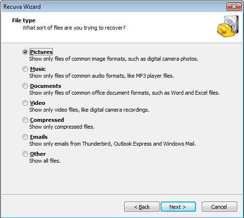 Recuperar archivos borrados Android con Recuva