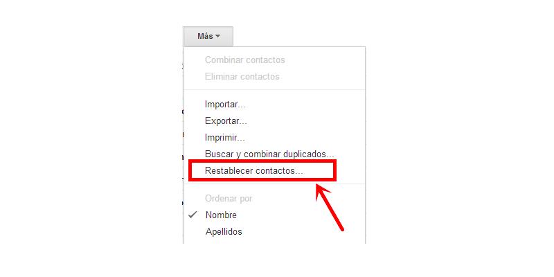 recuperar contactos desde Gmail