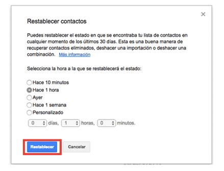restablecer contactos Gmail
