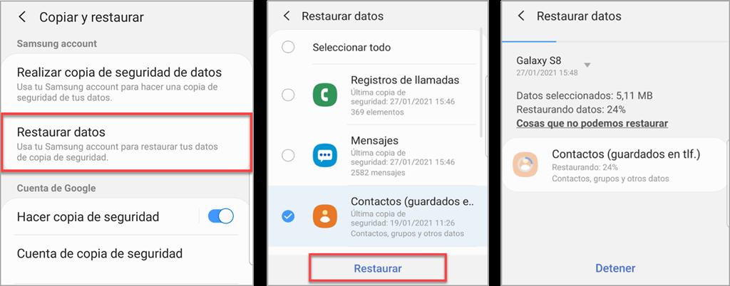 Cómo recuperar contactos borrados desde Samsung Galaxy