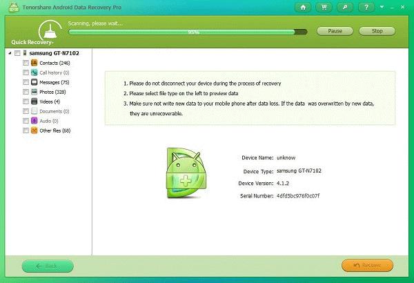 Tenorshare recuperar WhatsApp Android