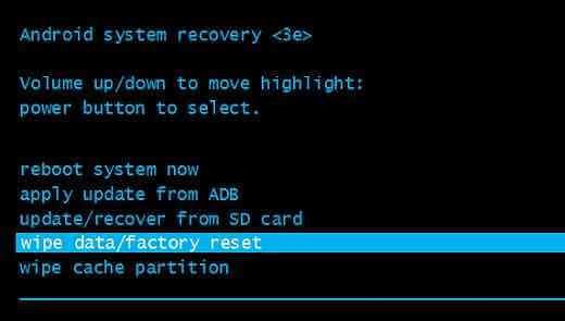 Borrar datos restablecimiento de fábrica