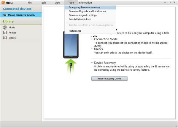 kies actualizacion firmware y inicializaicion
