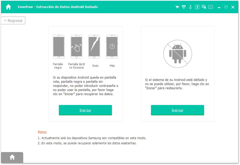 seleccionar tipo de android roto