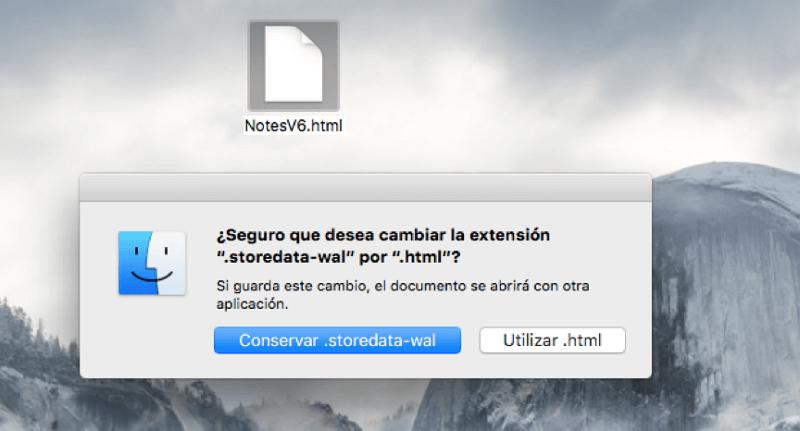 cambiar extensión de archivos de notas en Mac