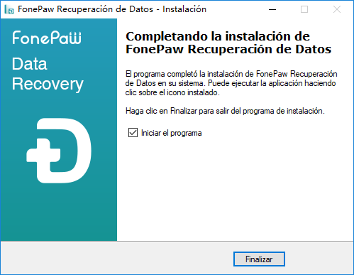 finalizar la instalación de recuperación de datos