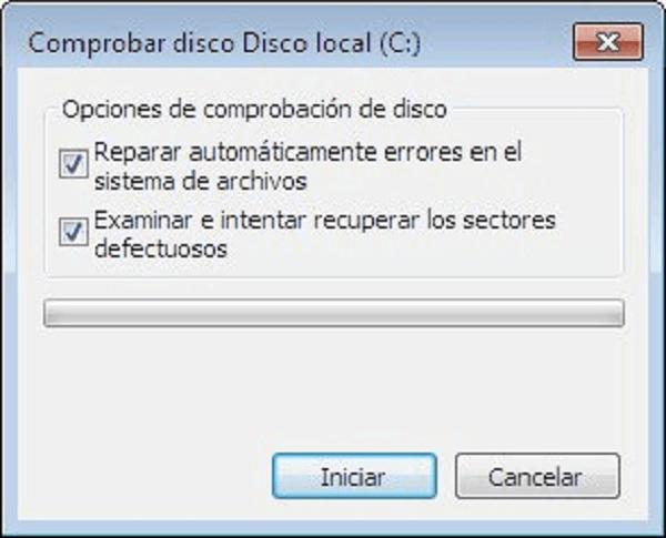 comprobar disco con opción de comprobación de disco