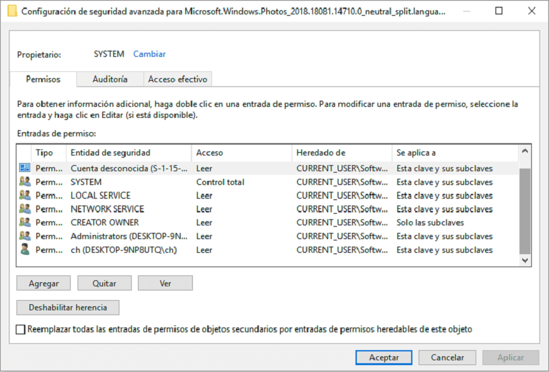 configuración de seguridad avanzada para Microsoft.Windows.Photos