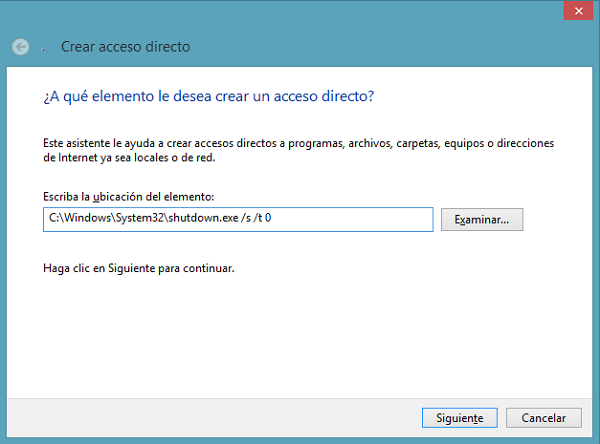 crear un acceso directo en Windows