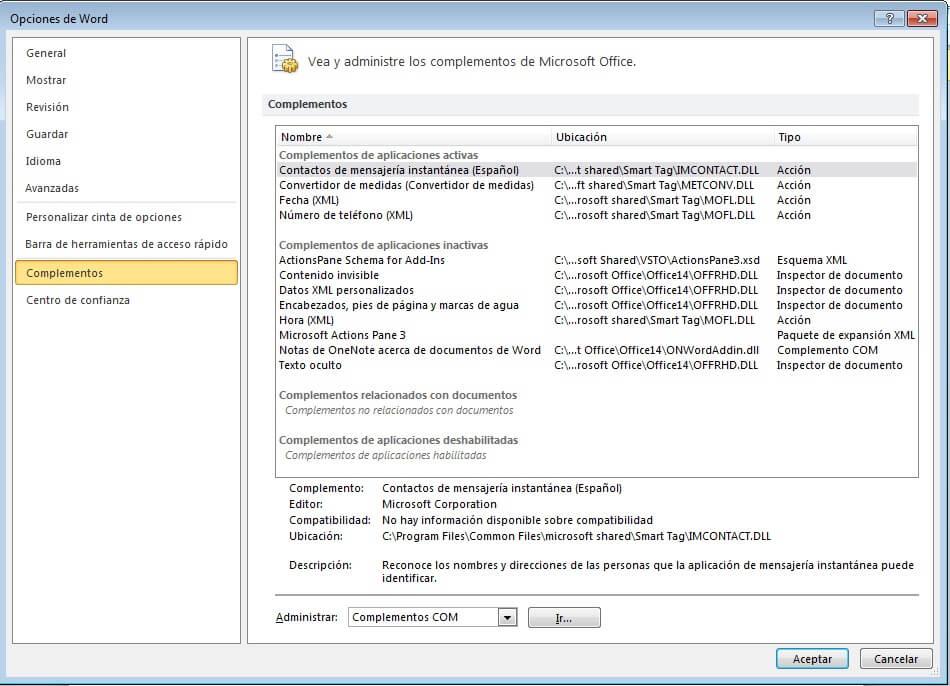 deshabilitar complementos de Microsoft Word
