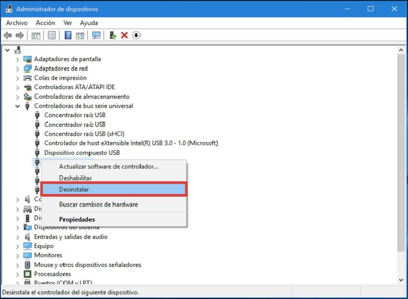 desinstalar hardware instalada de Windows
