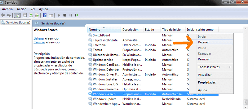 Detener servicios en Windows