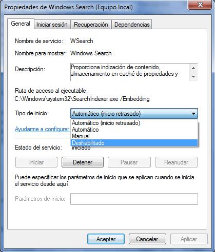 detener Windows Search