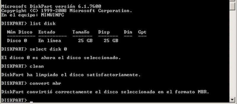 Diskpart convirtió correctamente el disco seleccionado en el formato MBR