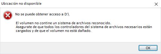 el volumen no contiene un sistema de archivos reconocidos