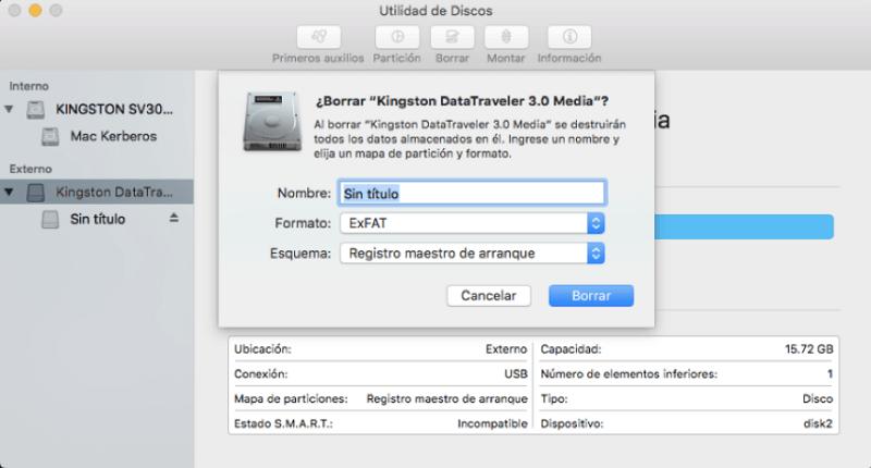 elegir formato al formatear disco duro externo en Utilidad de Discos
