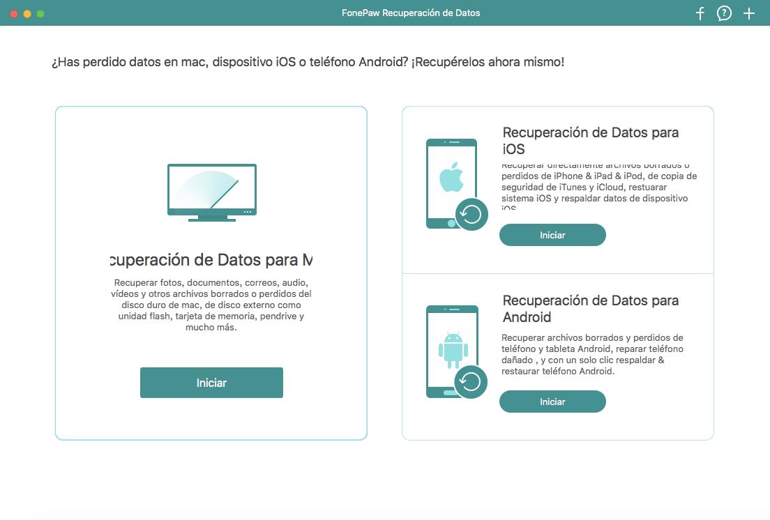 elegir función Recuperación de Datos Mac