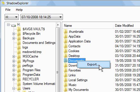 exportar archivo de restauración en ShadowExplorer