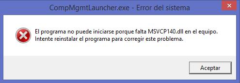no encontrarse MSVCP140.dll