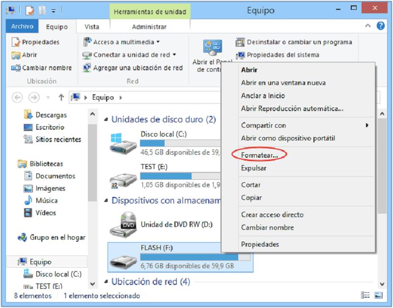 formatear memoria de USB