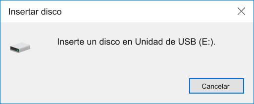 inserte un disco en Unidad de USB