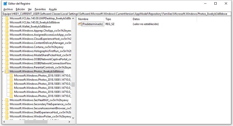 navegar para buscar el registro de clave