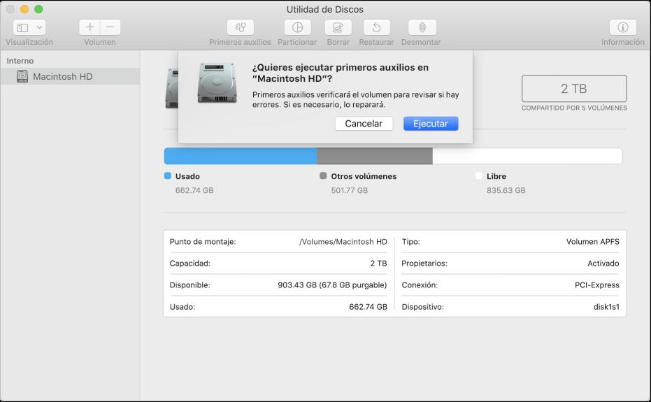 primeros auxilios de utilidad de discos Mac