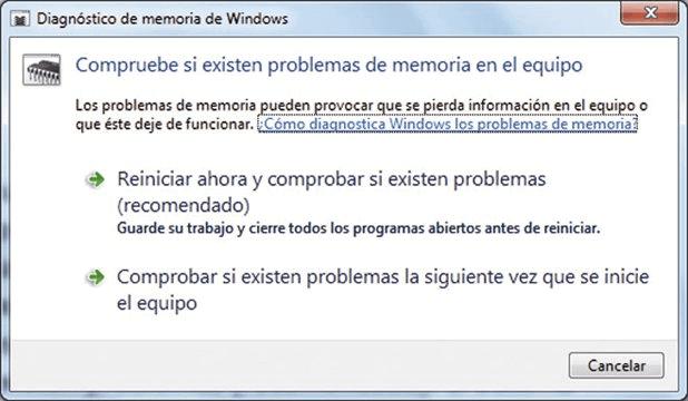 Probar RAM con herramienta de Diagnósticos de Memoria de Windows