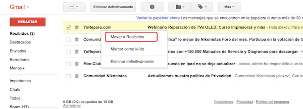 recuperar correo borrado de Gmail