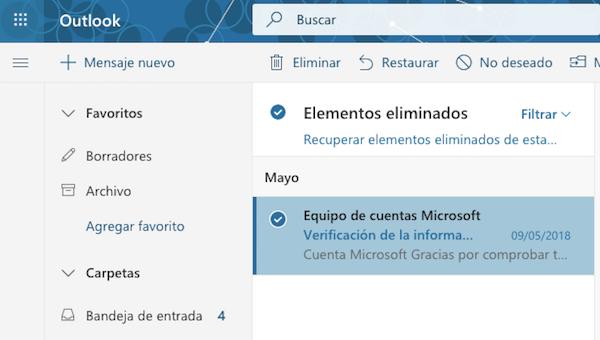 recuperar correo Outlook