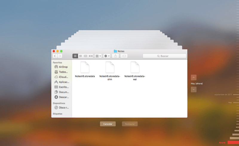recuperar notas borradas con Time Machine Mac