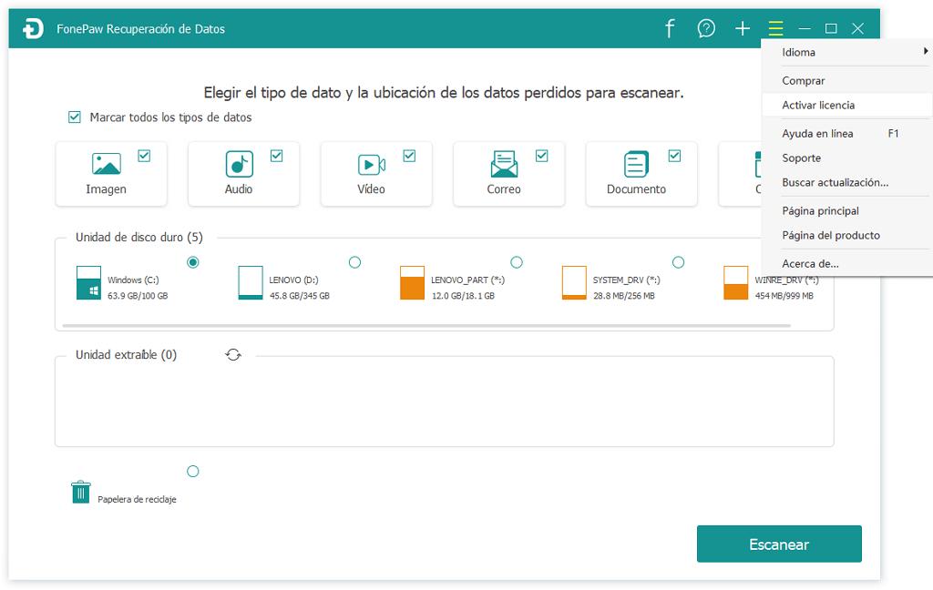 registrar en recuperación de datos