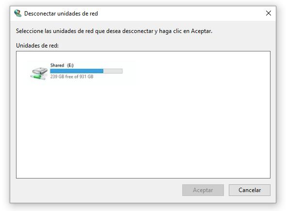 seleccionar unidad de red que desea desconectar