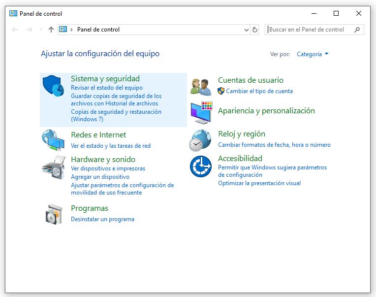 sistema y seguridad de Windows