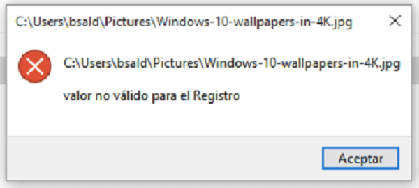 valor no válido para el registro windows 10