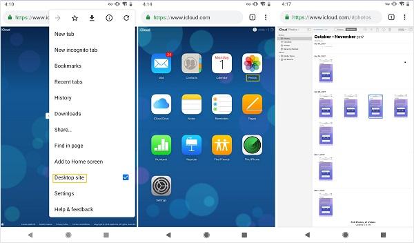 acceder Fotos de iCloud en Android