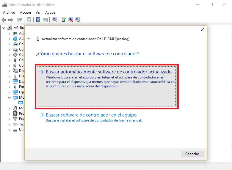 buscar automámticamente el software de controlador actualizado