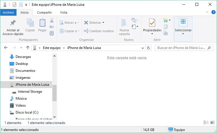 la carpeta DCIM está vacía en iPhone