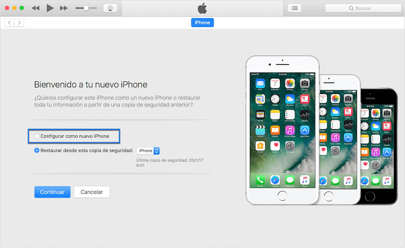 configurar como nuevo iPhone
