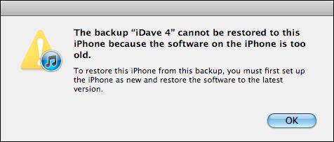 La copia de seguridad no se puede restaurar a este iPhone porque el software en el iPhone es demasiado antiguo