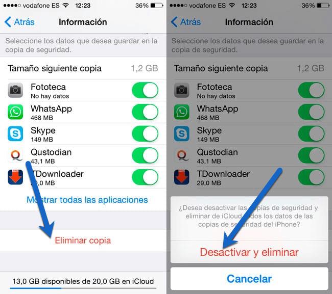 desactivar y eliminar copia de seguridad iPhone