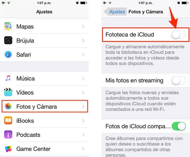 desactivar fotos en iCloud