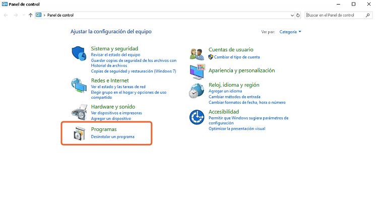 desinstalar programa en panel de control Windows