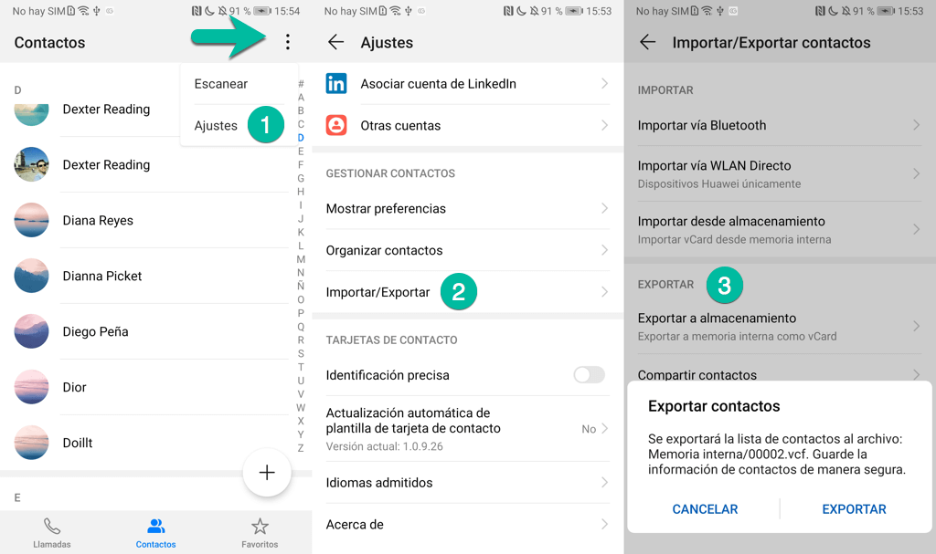 Exportar contactos Android a archivo VCF
